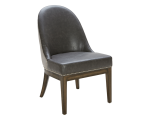 LIANA DINING CHAIR – GREY LEATHER /SILVER LINEN FABRIC
