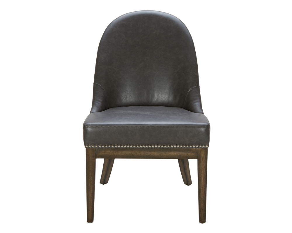 Light Gray Linen Dining Chairs: GREY LEATHER /SILVER LINEN FABRIC