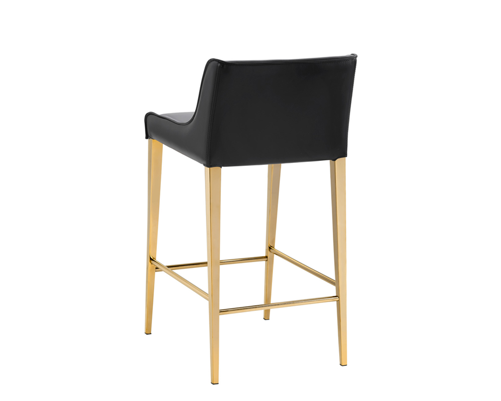 Lawrence Counter Stool Yellow Gold Obsidian Black
