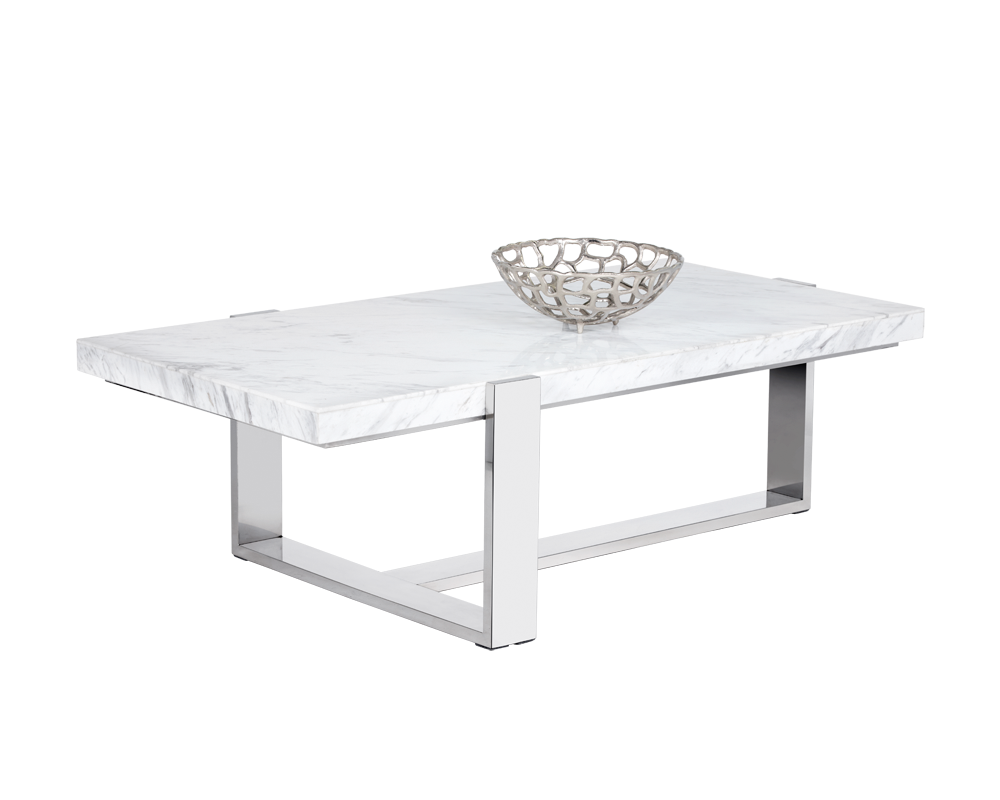 Tribecca Coffee Table Rectangular White Marble Metro Element