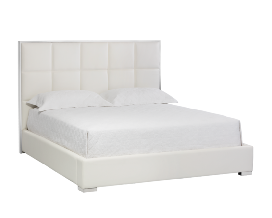 TOMPKINS BED – KING – WHITE LEATHER