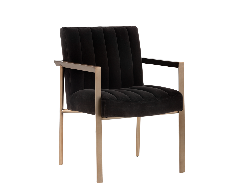 Whilhelmina Armchair Antique Brass Giotto Shale Grey