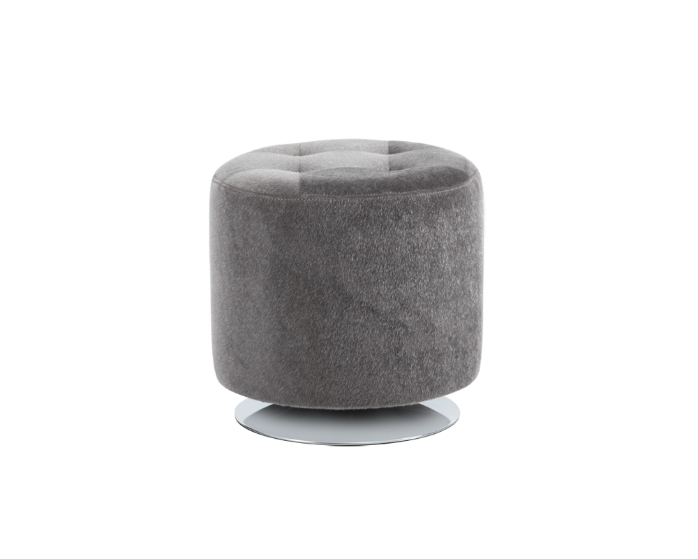 Domani Swivel Ottoman Small Grey Faux Fur Metro Element