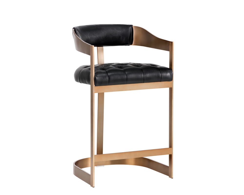 Beaumont Counter Stool Antique Brass Black Leather
