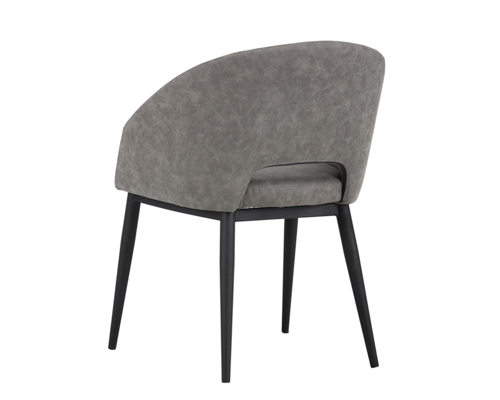 Thatcher dining chair black base antique grey metro for Grey and black dining chairs