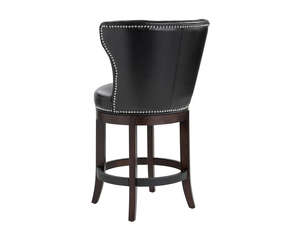 Tavern Swivel Counter Stool Black Leather Metro Element