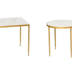 Alabaster 2 pcs Marble End Table Set – Round and Square
