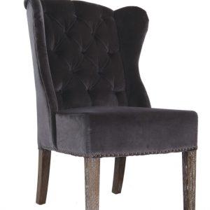 Babar Chair – Royal Grey Velvet & Oak Legs