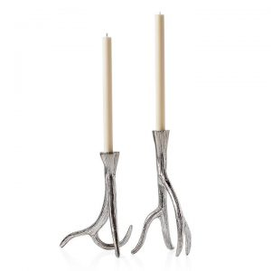 Antler Aluminum Taper Candle Holder Set of Two