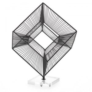 3D Radiant Cube 16″h Decor Sculpture – Black