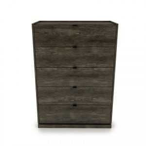 CLOE 5 Drawer dresser with laquered glass top