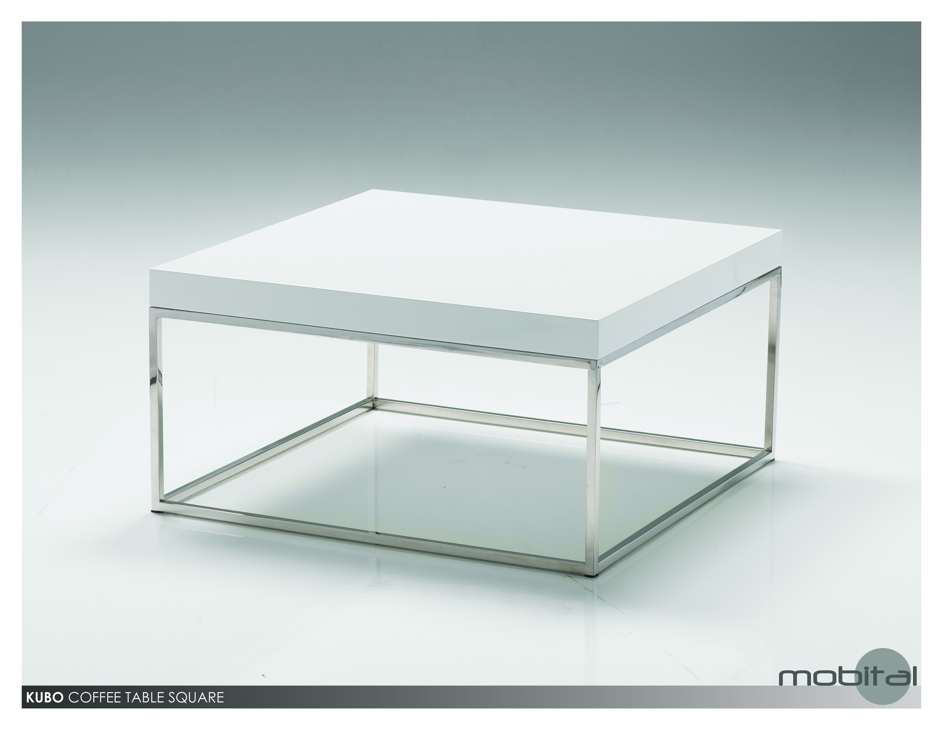 Kubo 30 Square Coffee Table High Gloss White With Stainless Steel Metro Element