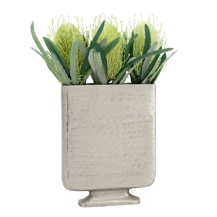 Lyra Etched Aluminum 10h Flat Urn Tall Vase Pewter Metro Element