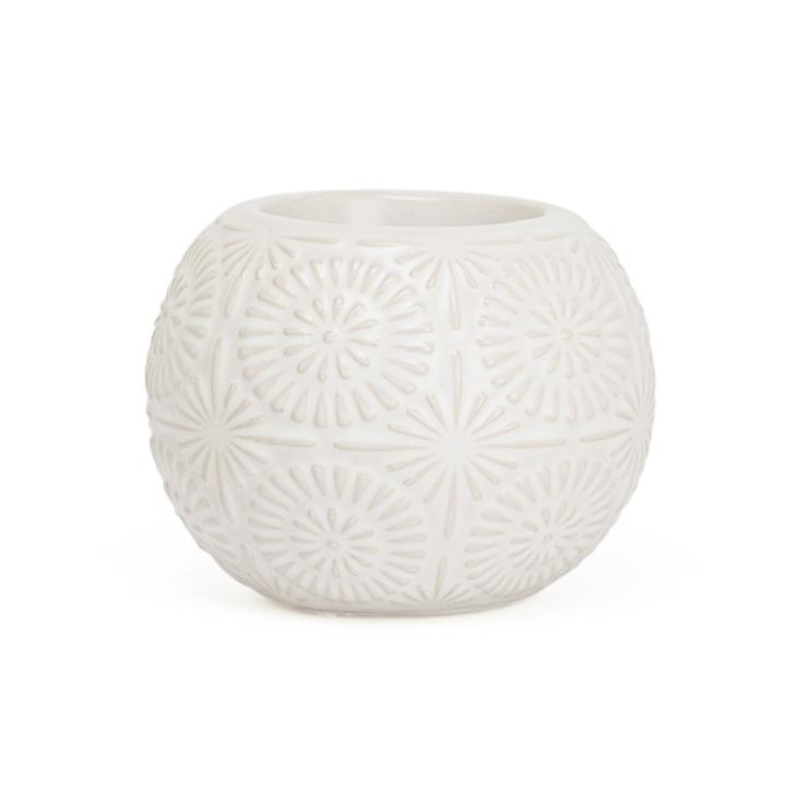 Clara Embossed Mandala White Ceramic Tealight Holder Metro Element