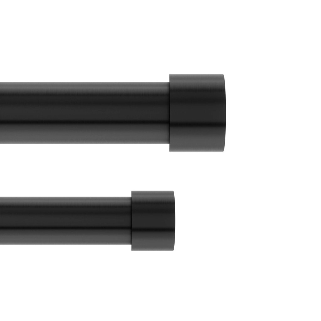 Cappa Double Curtain Rod Brushed Black 66 120 168 305cm Metro Element